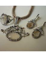 Комплект уникални сребърни бижута с  кварц рутил