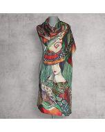 Рисуван шал от естествена коприна, Lady
