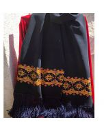 Ръчно бродиран копринен шал, Царски, с елементи на българска шевица