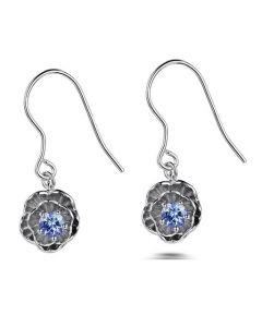 Синя роза, сребърни обеци с естествен танзанит