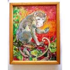 Маймуна, стъклопис