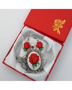 Комплект етно бижута, българска роза, бродерия