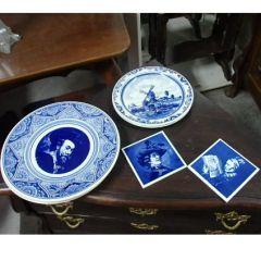 Синя, холандска керамична чиния, антика