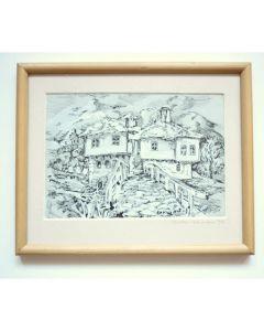 Картина,, графика на стари къщи от Широка лъка