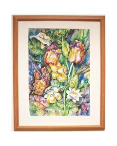 Акварел с рамка, Пролетни цветя с пеперуда