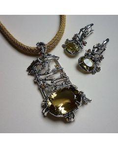 Комплект сребърни бижута Златна есен с лемон кварц