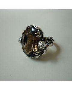 Сребърен пръстен уникат с опушен планински кристал