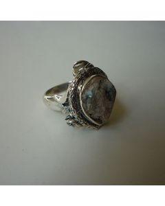 Сребърен пръстен с ахат друза