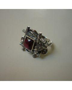 Уникален сребърен пръстен с гранат, Кардинал