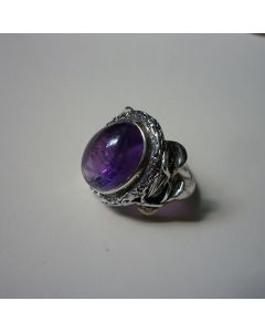 Сребърен пръстен с аметист, уникат