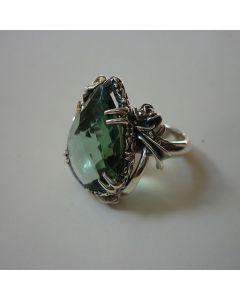 Сребърен пръстен със зелен хидрокварц