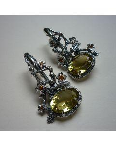 Обеци с лемън кварц, сребро