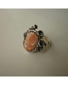 Сребърен пръстен Рози с  рози от естествен корал