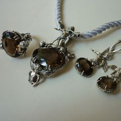 Сребърен комплект бижута с опушен кристал, Ангели