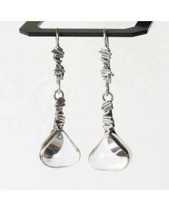 Сребърни обеци с кристал