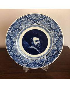 Рембранд - декоративна чиния - синя, холандска керамика