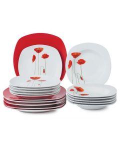 Порцеланов сервиз за храна, 18 ч. Червени макове