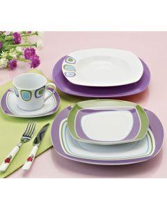 Порцеланов сервиз за хранене 18 части Зелено и лила
