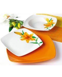 Сервиз за храна от порцелан, 18 части Лилия в оранж