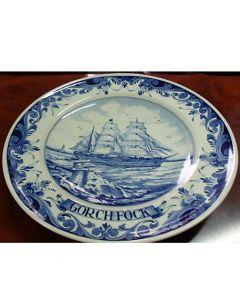 Колекционерска чиния Gorch Fock, порцелан Blue Delft