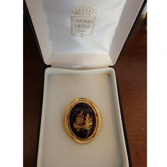 Брошка, кралско синьо  Limoges Castel