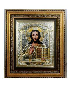 Икона на Иисус Христос, посребрена и позлатена