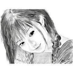 """Дигитална графика на младо момиче """"Летен спомен"""""""