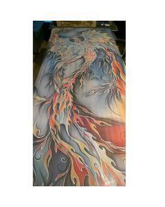 Рисуван шал от естествена коприна, Жар птица