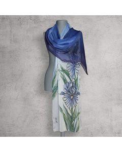 Ръчно рисуван шал от естествена коприна, Ириси