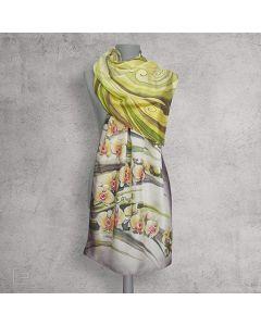 Жълти орхидеи, рисуван шал от естествена коприна