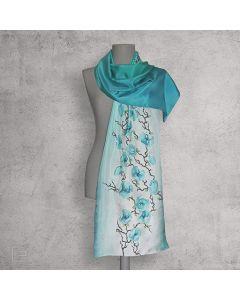 Тюркоазни орхидеи, рисуван шал от естествена коприна