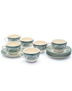 Класически английски сервиз за чай и кафе в зелено