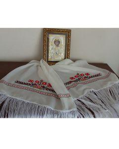 Копринен шал с бродирана шевица от Софийския регион