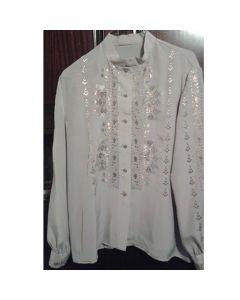 Копринена, бродирана дамска блуза с шевица