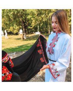 Бродиран шал от естествена коприна, Ловешка шевица