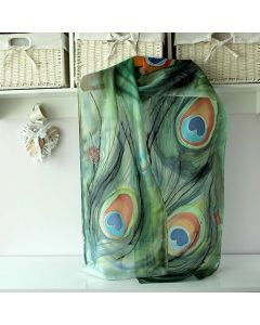 Ръчно рисуван шал от естествена коприна, Паунови пера