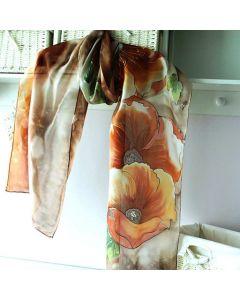 Рисуван копринен шал, Есенни цветя