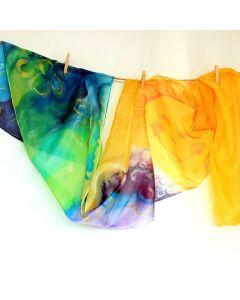 Ръчно рисуван шал от естествена коприна, Слънце