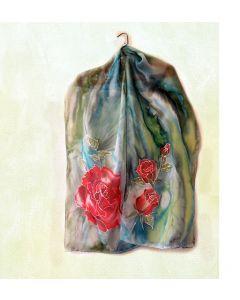 "Ръчно рисуван шал  ""Червена роза"""
