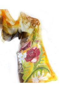 Ръчно рисуван копринен шал, Макове