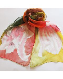 Рисуван шал, Стилизирани цветя на фон