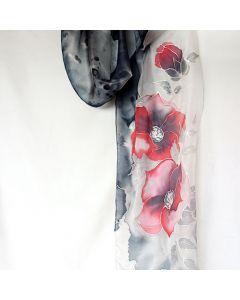 Рисуван шал, Червени цветя на черен фон