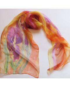 """Рисуван шал, """"Ириси на оранжев фон"""""""