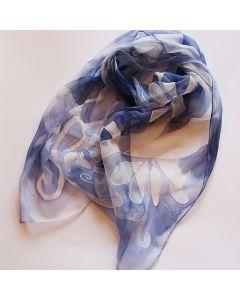 Ръчно рисуван шал, Фигури на роял син фон