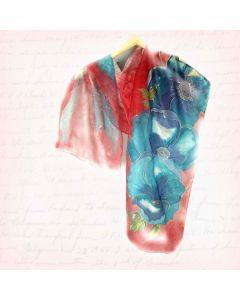 Шал естествена коприна, Сини цветя