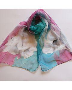 """Ръчно рисуван шал  """"Стилизирани цветя на синьо - розов фон"""""""