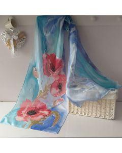 Рисуван копринен шал, Макове на син фон
