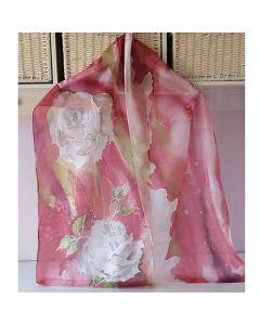 Ръчно рисуван копринен шал Бели рози