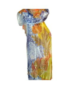 Ръчно рисуван шал от естествена коприна, Есен