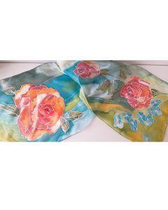 Ръчно рисуван шал от естествена коприна, Оранжева роза